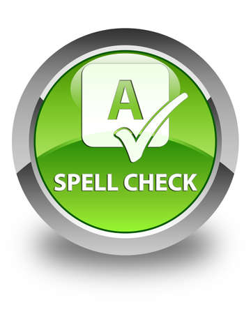 spell: Spell check glossy green round button