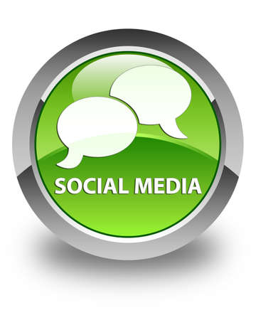 instant message: Social media (chat bubble icon) glossy green round button