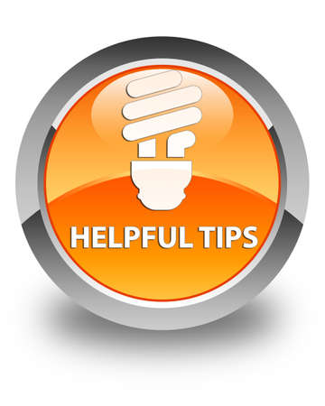 helpful: Helpful tips (bulb icon) glossy orange round button Stock Photo