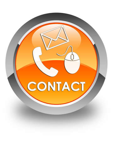 phone button: Contact (phone, email and mouse icon) glossy orange round button