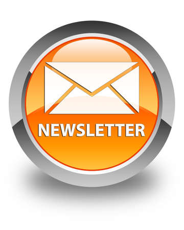 blog icon: Newsletter glossy orange round button Stock Photo