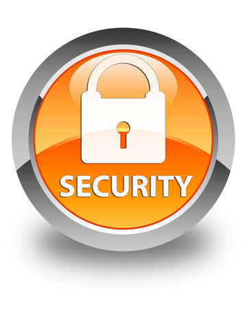 defend: Security (padlock icon) glossy orange round button