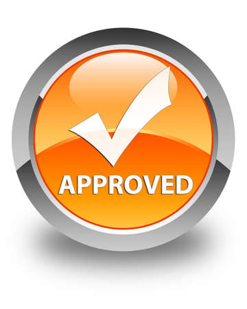 validate: Approved (validate icon) glossy orange round button Stock Photo