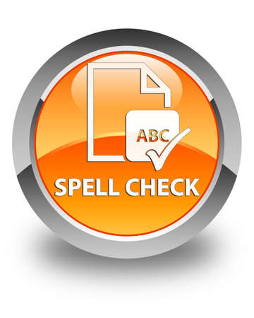 paper spell: Spell check document glossy orange round button