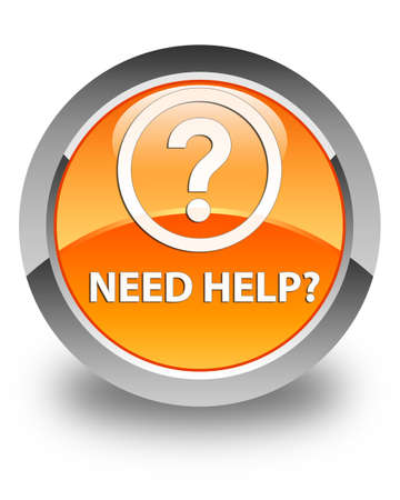 need: Need help (question icon) glossy orange round button