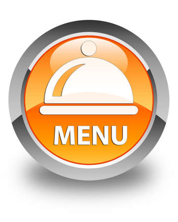 cater: Menu (food dish icon) glossy orange round button Stock Photo
