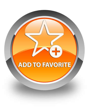 add button: Add to favorite glossy orange round button