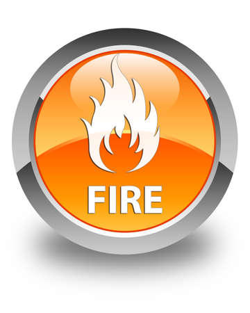 wildfire: Fire glossy orange round button Stock Photo