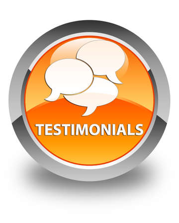 comments: Testimonials (comments icon) glossy orange round button