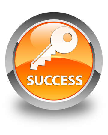 success key: Success (key icon) glossy orange round button