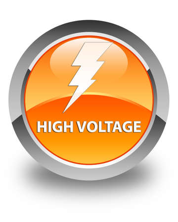 3d lightning: High voltage (electricity icon) glossy orange round button