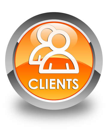 clientele: Clients (group icon) glossy orange round button