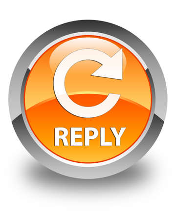 reply: Reply (rotate arrow icon) glossy orange round button