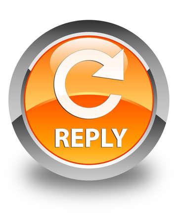 reply: Reply (rotate arrow icon) glossy orange round button