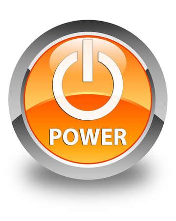shutdown: Power glossy orange round button