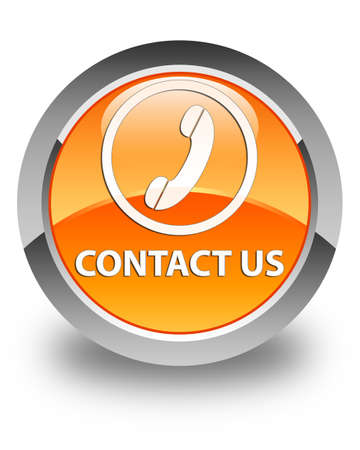 phone us: Contact us (phone icon round border) glossy orange round button Stock Photo