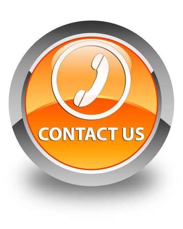 phone button: Contact us (phone icon round border) glossy orange round button Stock Photo