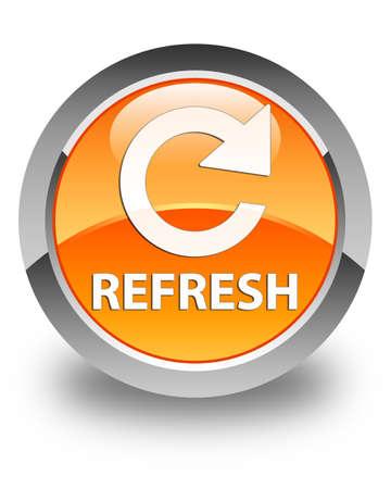 rotate: Refresh (rotate arrow icon) glossy orange round button