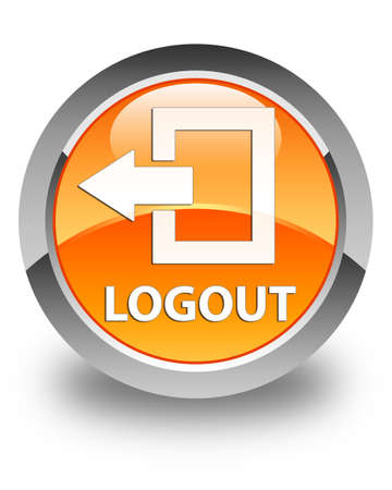 close out: Logout glossy orange round button Stock Photo
