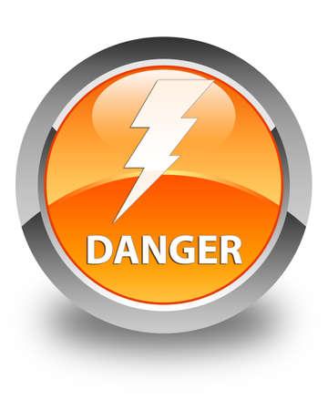 high voltage symbol: Danger (electricity icon) glossy orange round button
