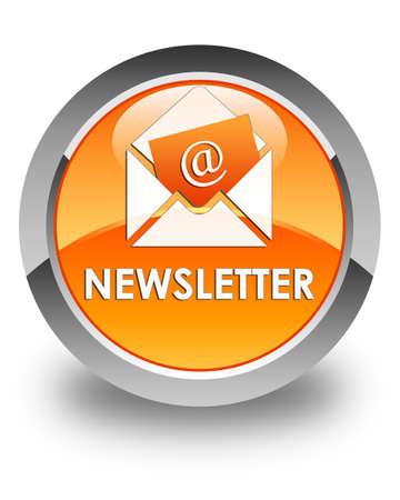round button: Newsletter glossy orange round button Stock Photo