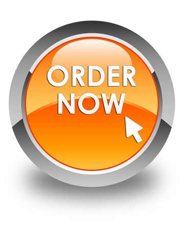 in order: Order now glossy orange round button