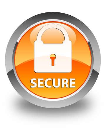 key hole shape: Secure (padlock icon) glossy orange round button Stock Photo
