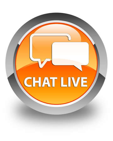 instant message: Chat live glossy orange round button