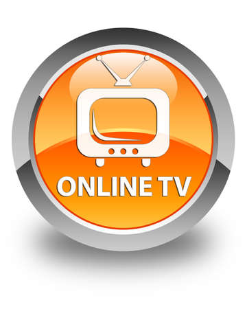 live entertainment: Online tv glossy orange round button