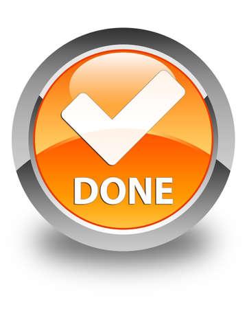 validate: Done (validate icon) glossy orange round button Stock Photo