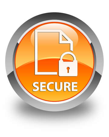 insecure: Secure (document page padlock icon) glossy orange round button
