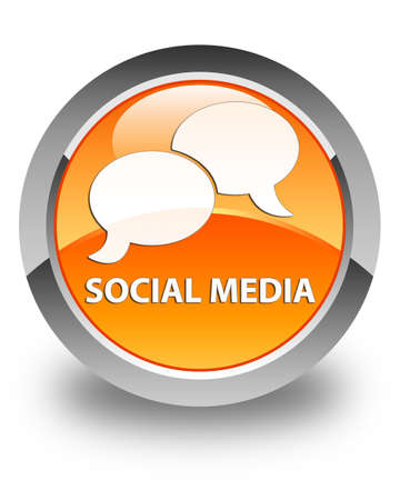 instant message: Social media (chat bubble icon) glossy orange round button Stock Photo