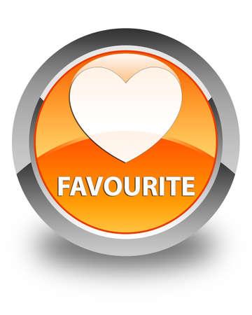 the favourite: Favourite (heart icon) glossy orange round button Stock Photo