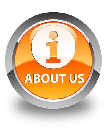about us: About us glossy orange round button