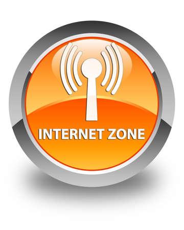 wlan: Internet zone (wlan network) glossy orange round button Stock Photo