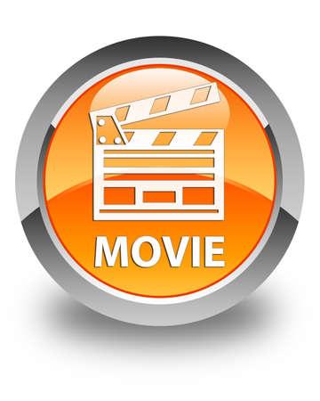 Movie (cinema clip icon) glossy orange round button