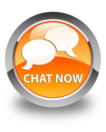 instant message: Chat now glossy orange round button Stock Photo