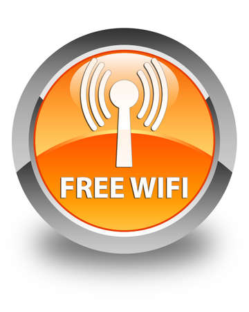 wlan: Free wifi (wlan network) glossy orange round button Stock Photo