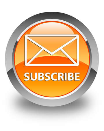subscribe: Subscribe (email icon) glossy orange round button Stock Photo