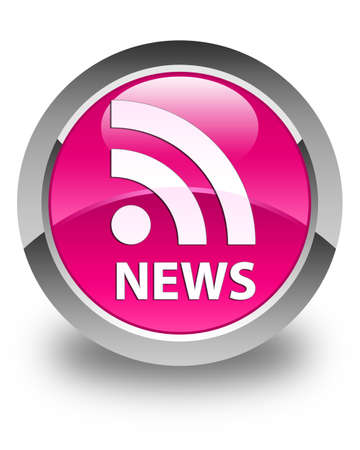 News (RSS icon) glossy pink round button Stock Photo