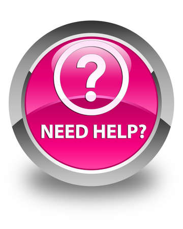 need help: Need help (question icon) glossy pink round button