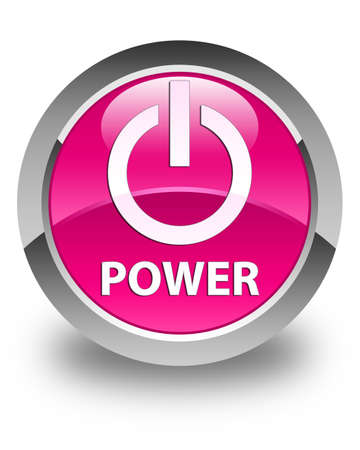 turn up: Power glossy pink round button Stock Photo