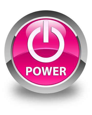 shut off: Power glossy pink round button Stock Photo