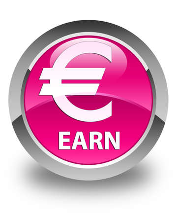 euro sign: Earn (euro sign) glossy pink round button