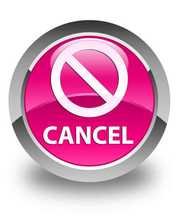 deny: Cancel (prohibition sign icon) glossy pink round button
