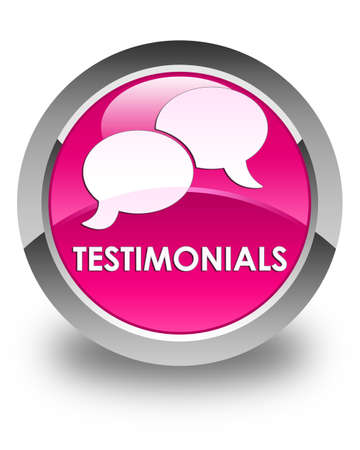 authenticate: Testimonials (chat icon) glossy pink round button