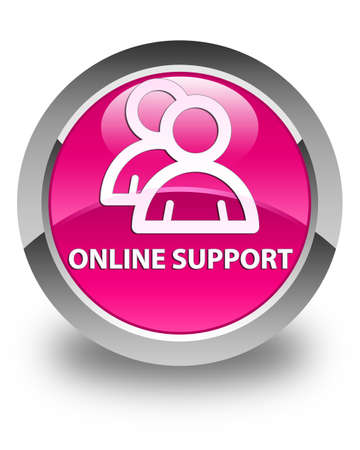 support group: Online support (group icon) glossy pink round button Stock Photo