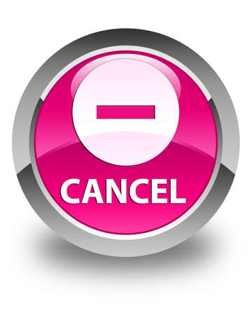 abort: Cancel glossy pink round button Stock Photo