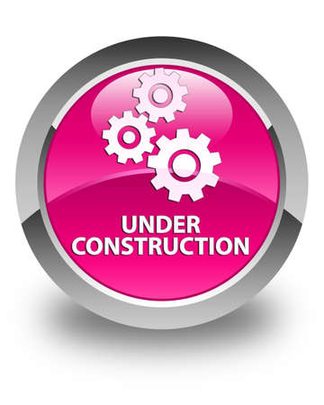 under control: Under construction (gears icon) glossy pink round button