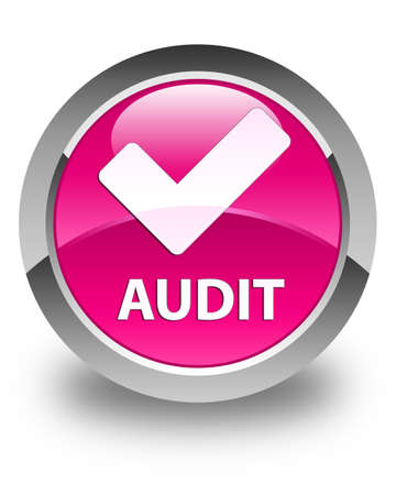validate: Audit (validate icon) glossy pink round button Stock Photo